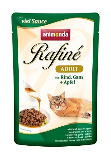 Pack de 12 bolsas, de Comida humeda para gatos animonda Rafiné Adulto, ave + vacuno en salsa de queso, 100 g unidad