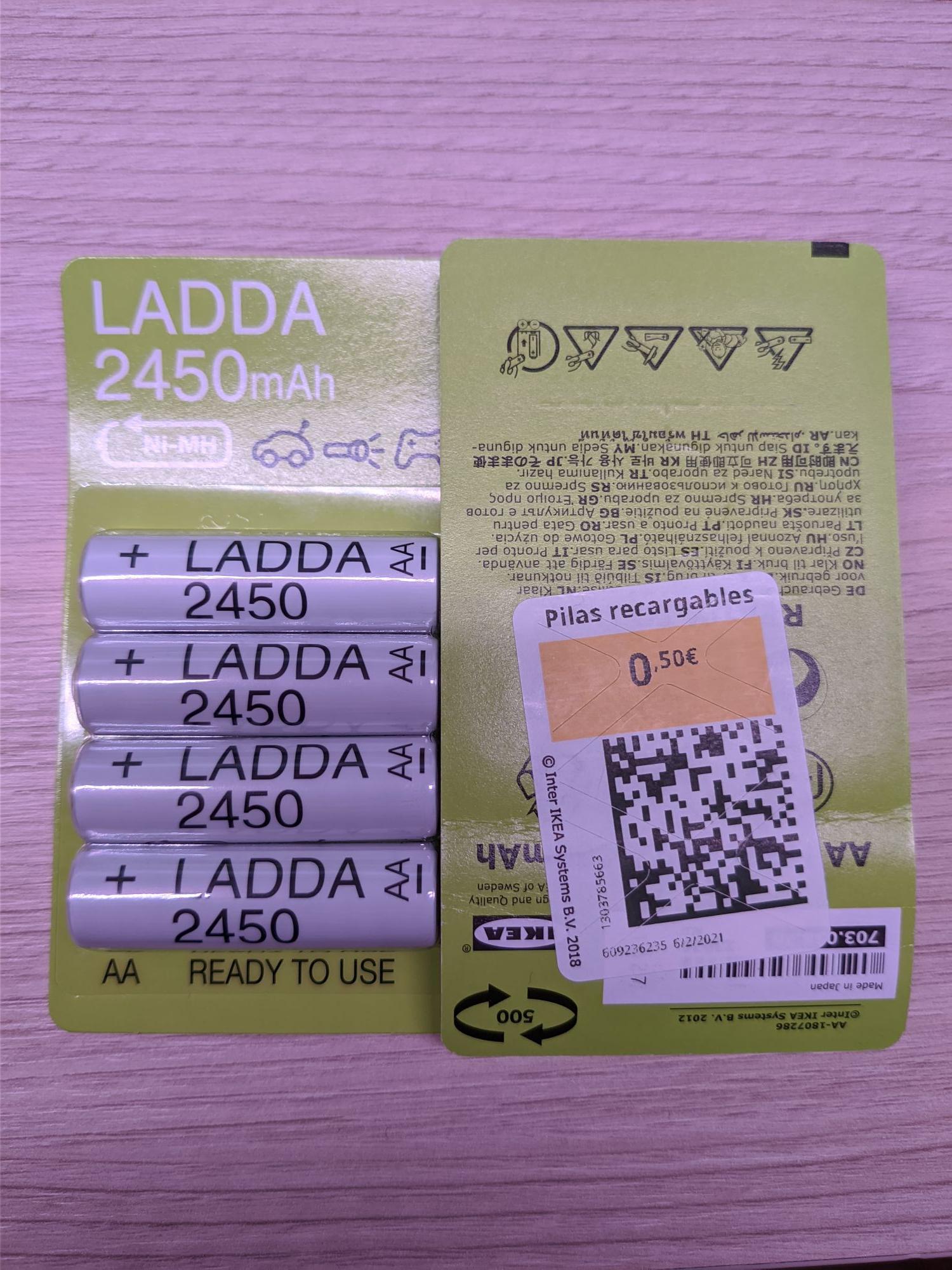 Pilas recargables Ikea Ladra AA 2450mAh