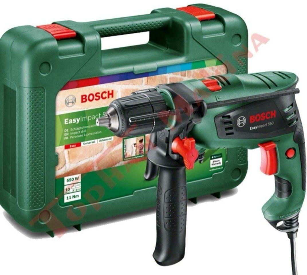 Bosch Taladro percutor (550 W, empuñadura adicional, tope de profundidad + maletín)
