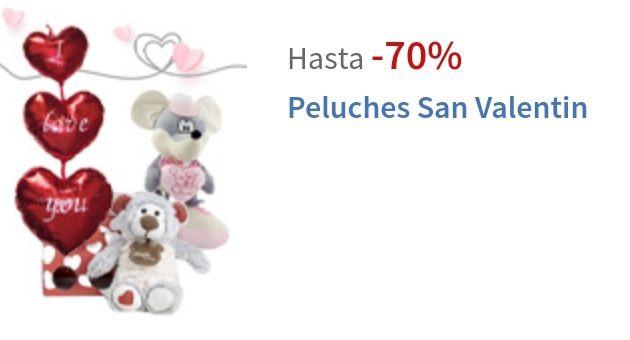 Hasta 70% de dto en peluches San Valentin