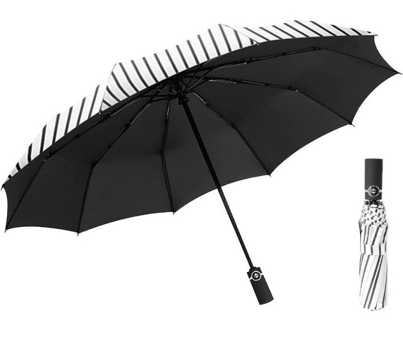 Paraguas Plegable se Abre y Cierra automáticamente, Paraguas a Prueba de Viento, Lluvia y 99% Recubrimiento de protección UV Negro