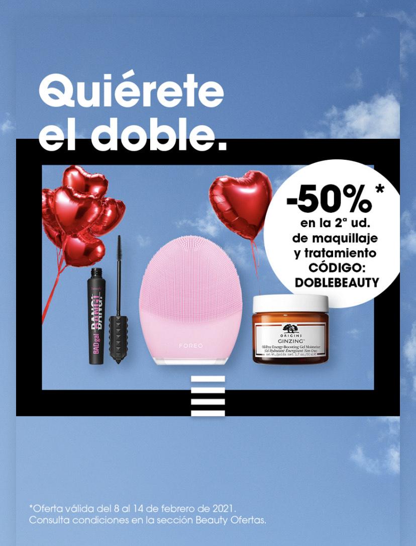 50% en la segunda unidad en maquillaje y tratamiento en Sephora