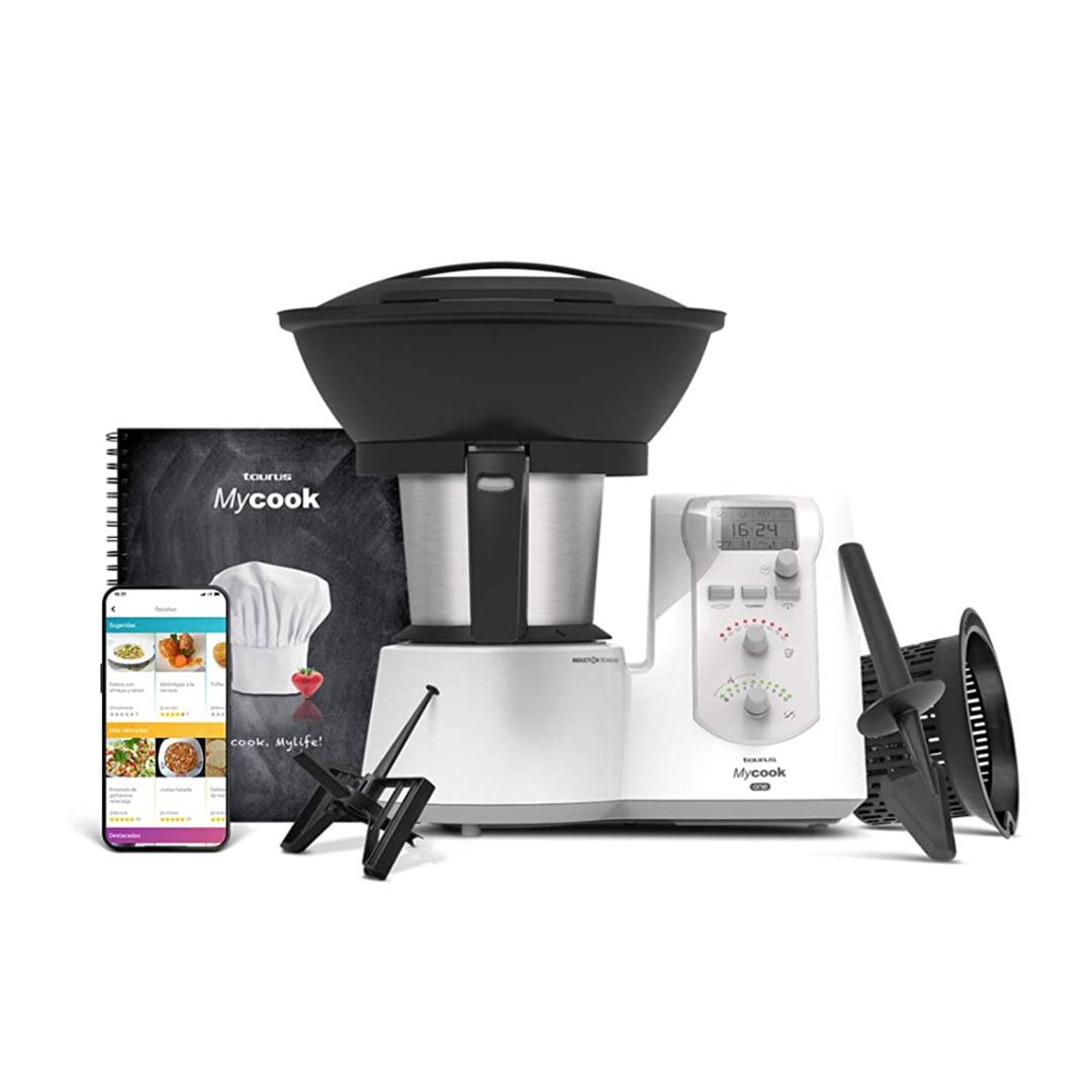 Taurus One-Robot de Cocina Inteligente Multifunción, 1600 W, 2 litros, 10 Velocidades, vaporera, recetario, Embellecedor Gris
