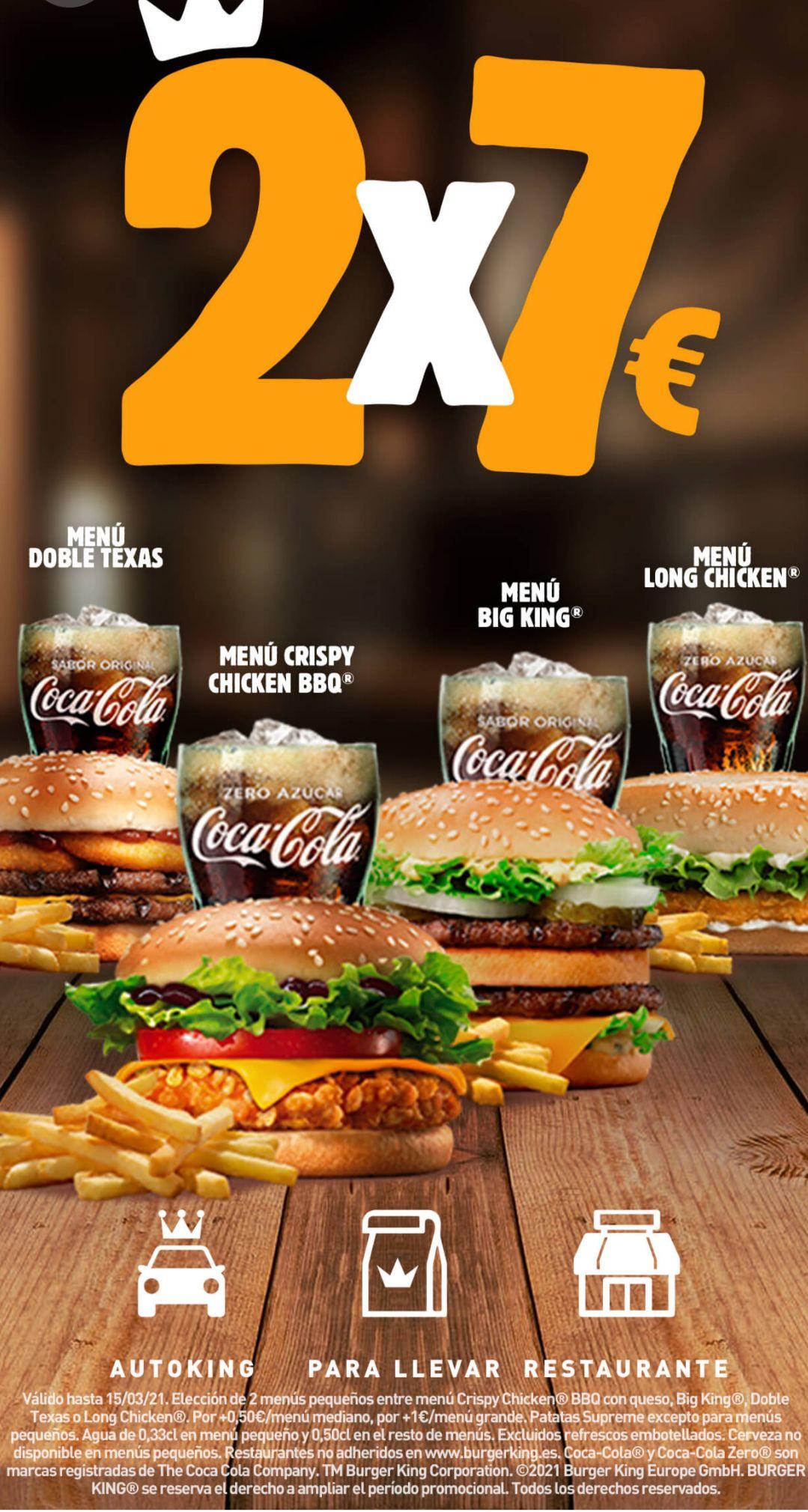 Vuelve el 2x7€ de Burger King