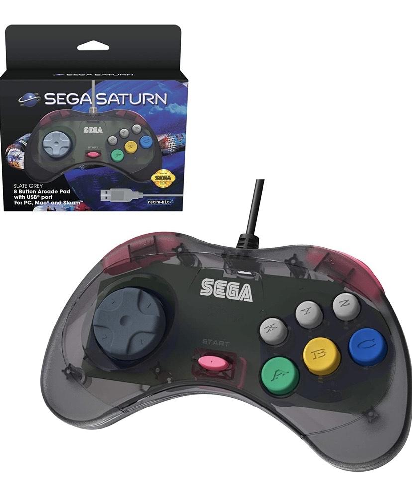 Retro-Bit Sega - Control Pad Saturn USB Pad, Gris [Sega Saturn]