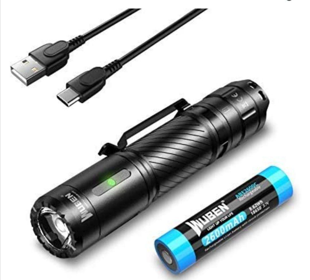 WUBEN C3 USB C 1200 lúmenes Linterna LED Recargable e Impermeable con 6 modos Alta Potencia