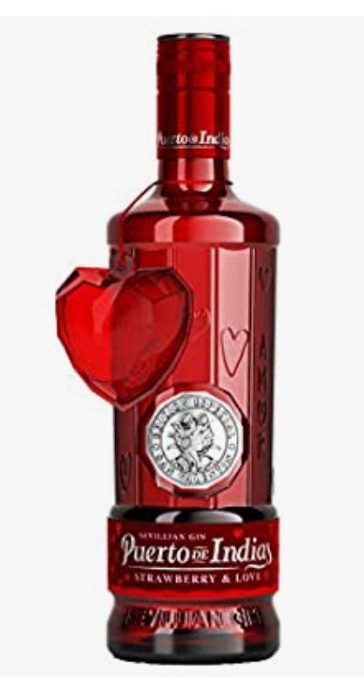 """Edición Limitada San Valentín - Gin Puerto de Indias Strawberry 70cl + 1cubitera de hielo """"colgante"""" en forma de corazón tb en Carrefour"""