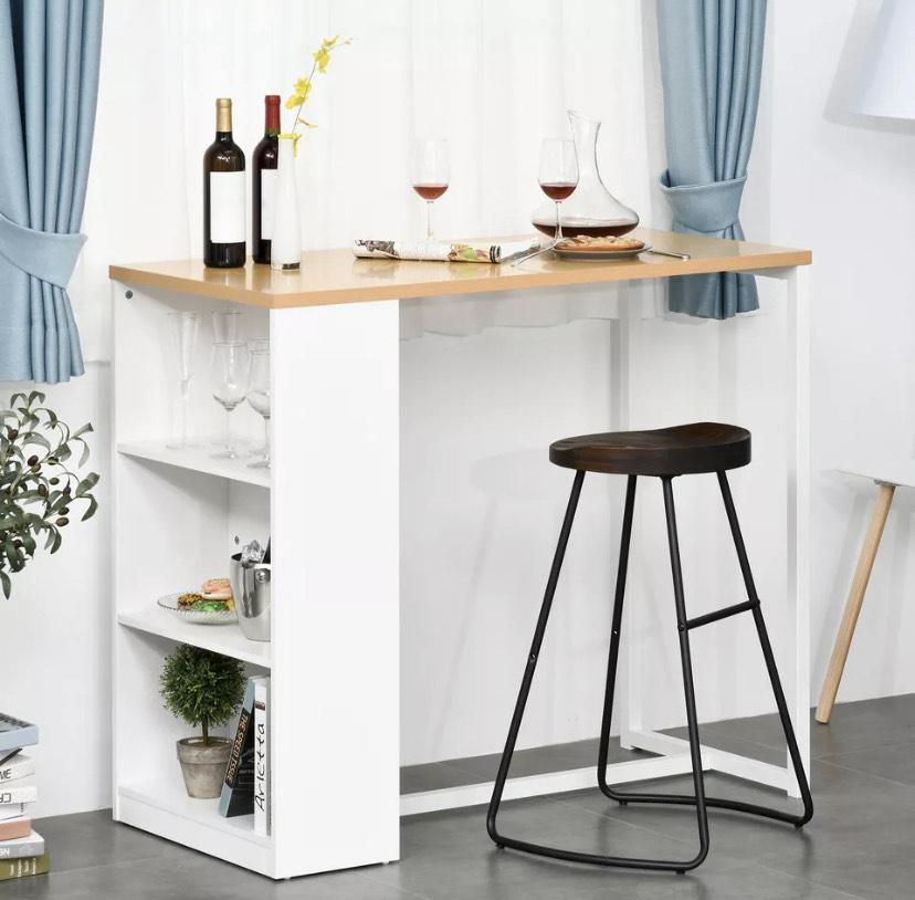 Mesa de Bar de Bistro con 3 Estantes para Cocina