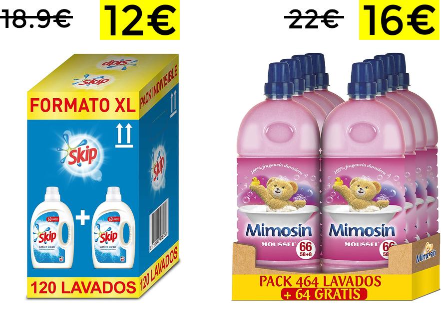 Detergente Skip y suavizante Mimosin en oferta