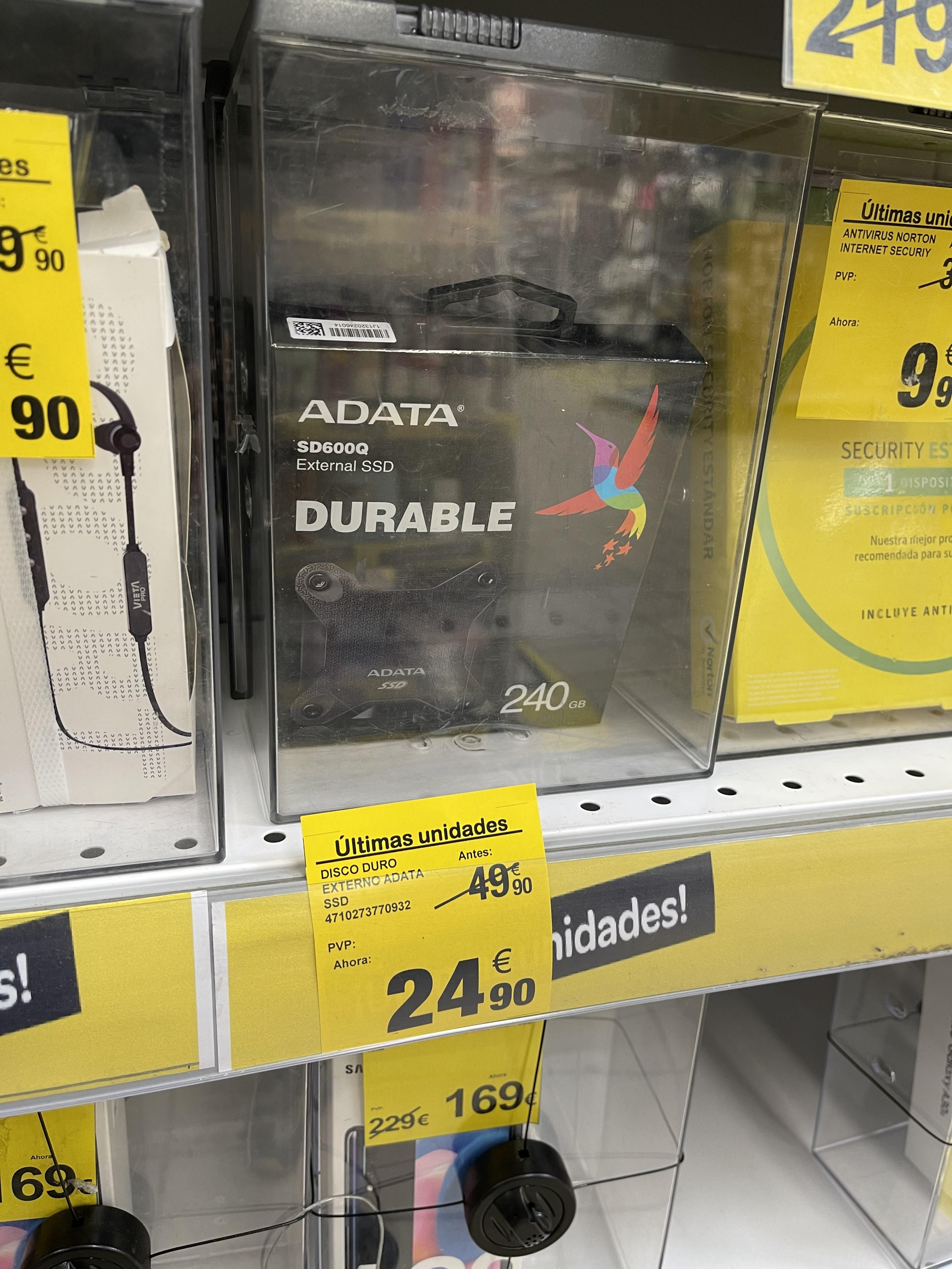 Disco duro externo SSD 240GB Adata, color negro solo (Carrefour Lorca)