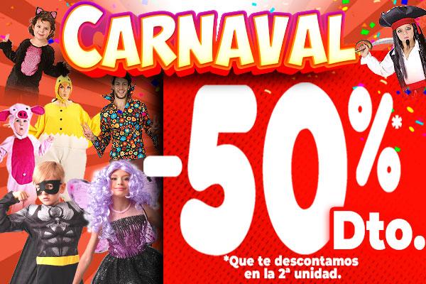 50% de descuento en la segunda unidad en productos de Carnaval