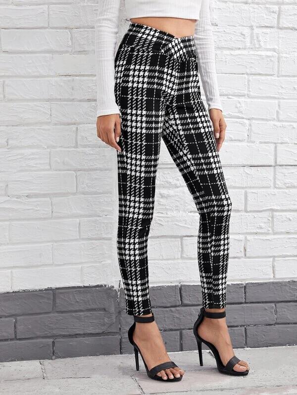 SHEIN Pantalones ajustados de cuadros de cintura ancha