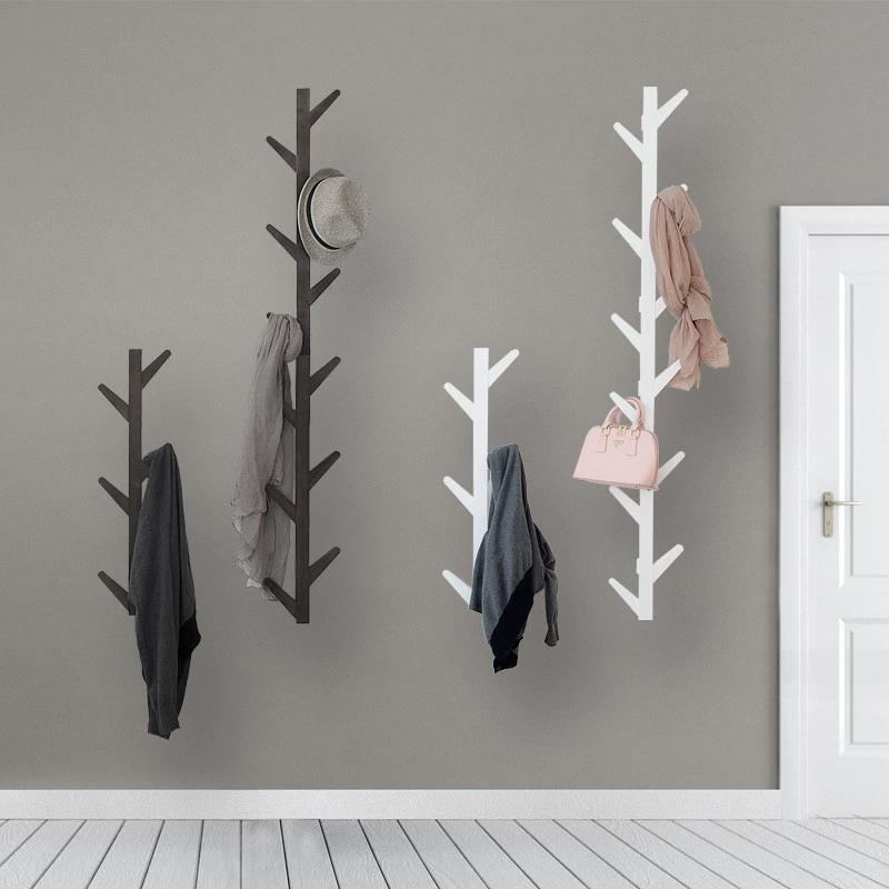 Perchero de pared de madera de bambú