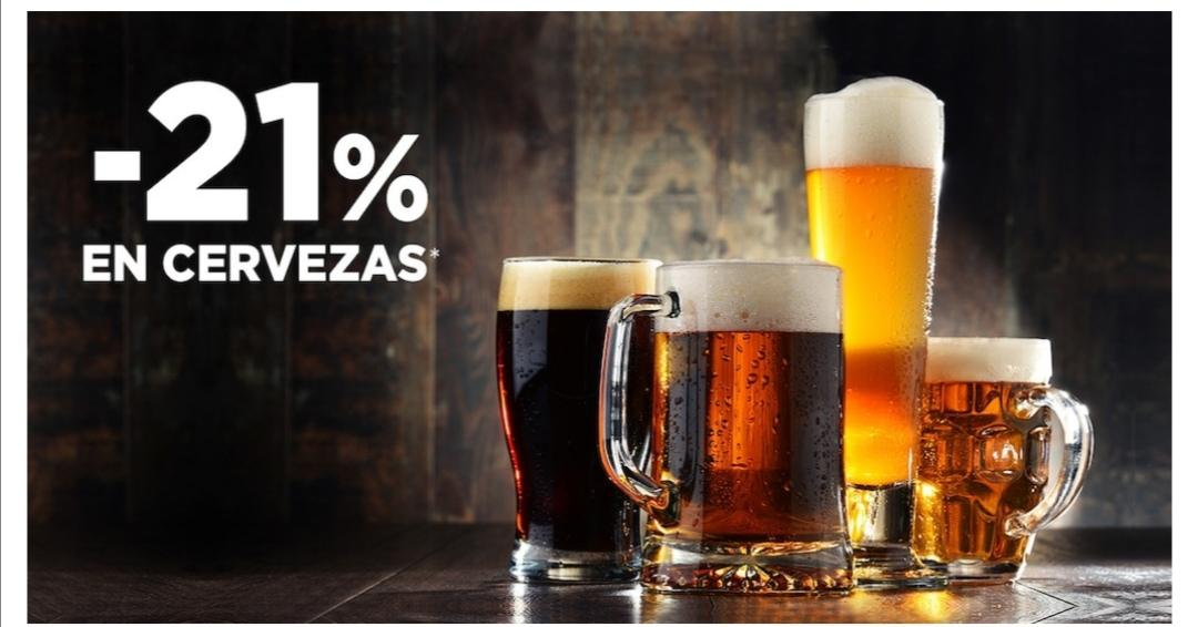 21% descuento en todas las cervezas en supermercado Hipercor.