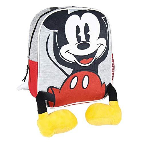 Mochila Infantil Mickey con Aplicaciones de Color Rojo