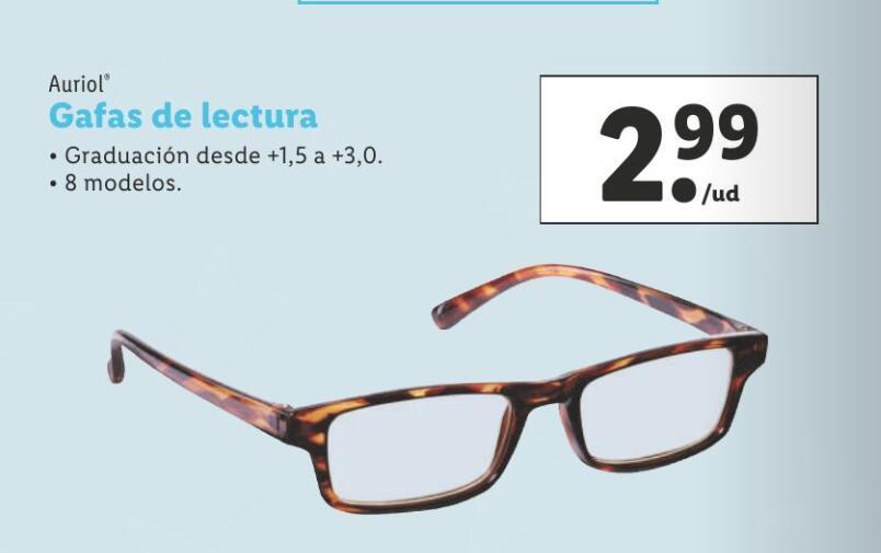Gafas de lectura, graduaciones de +1.5 a +3.0, 8 modelos.