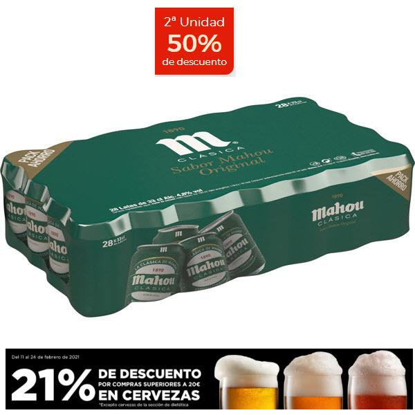 MAHOU CLASICA 2x packs de 28 latas 33 cl (TOTAL 56 latas)