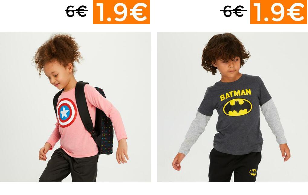 Liquidación en camisetas para niñ@s de Licencias desde 1.99€