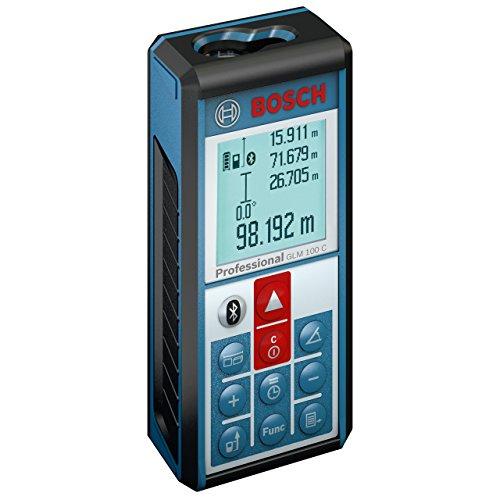 Bosch GLM 100 C Professional - Medidor láser de distancias, batería 3.7 V, Bluetooth, color negro y azul