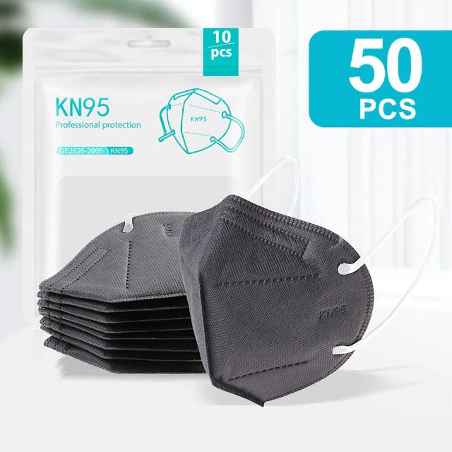 50 Mascarillas KN95 CE FFP2, 5 capas con filtro