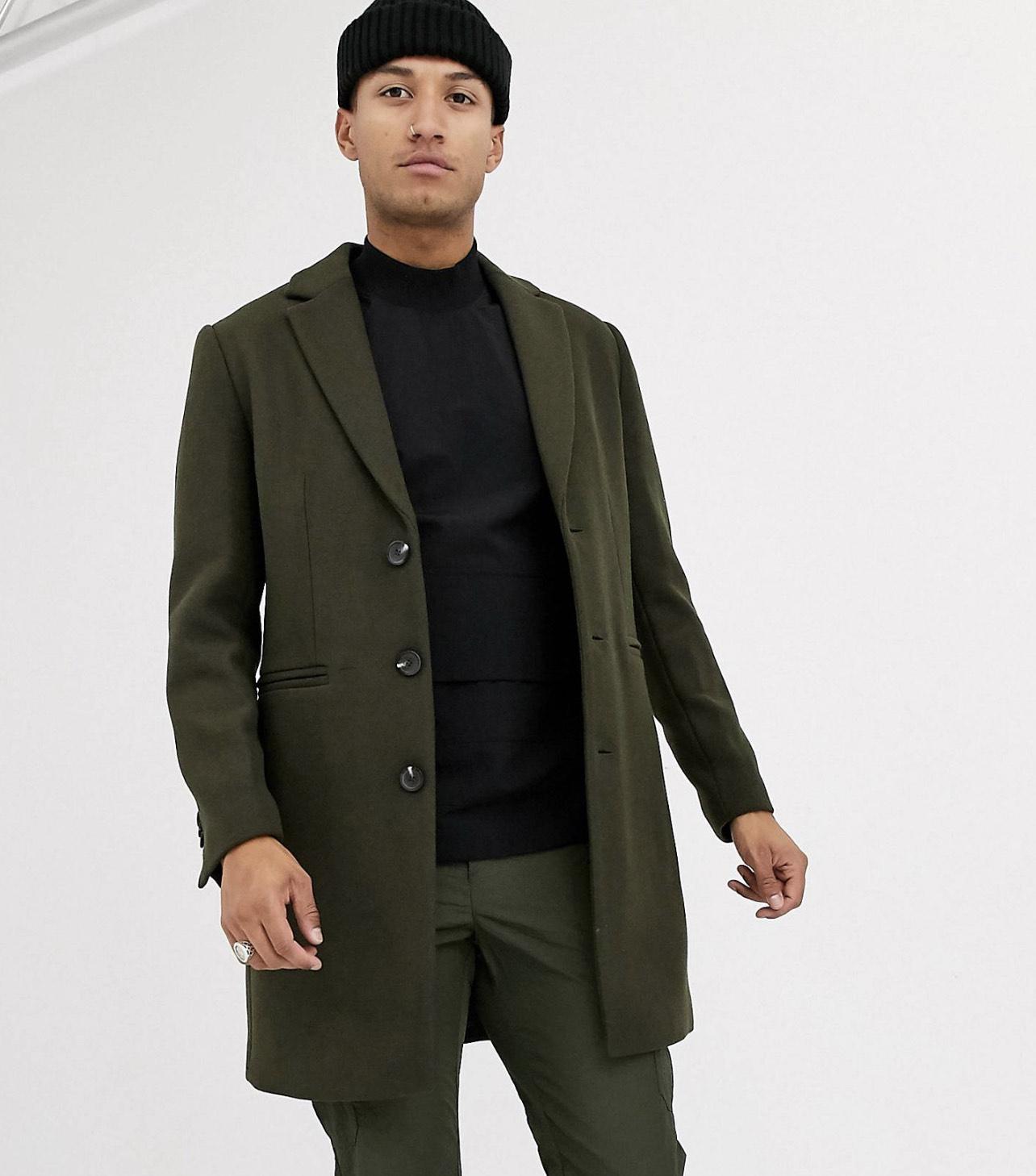 Abrigo mezcla de lana en color caqui (Talla XS)