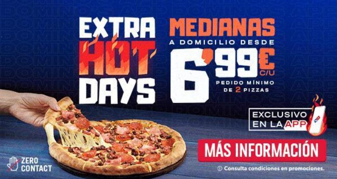 Pizzas medianas del Domino's a domicilio a 6.99 euros ( Minimo 2 pizzas )