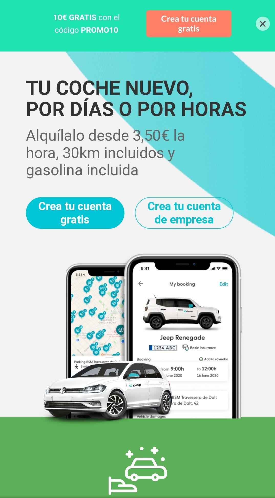 10 euros gratis en alquiler de Vehículo (Nuevos clientes)