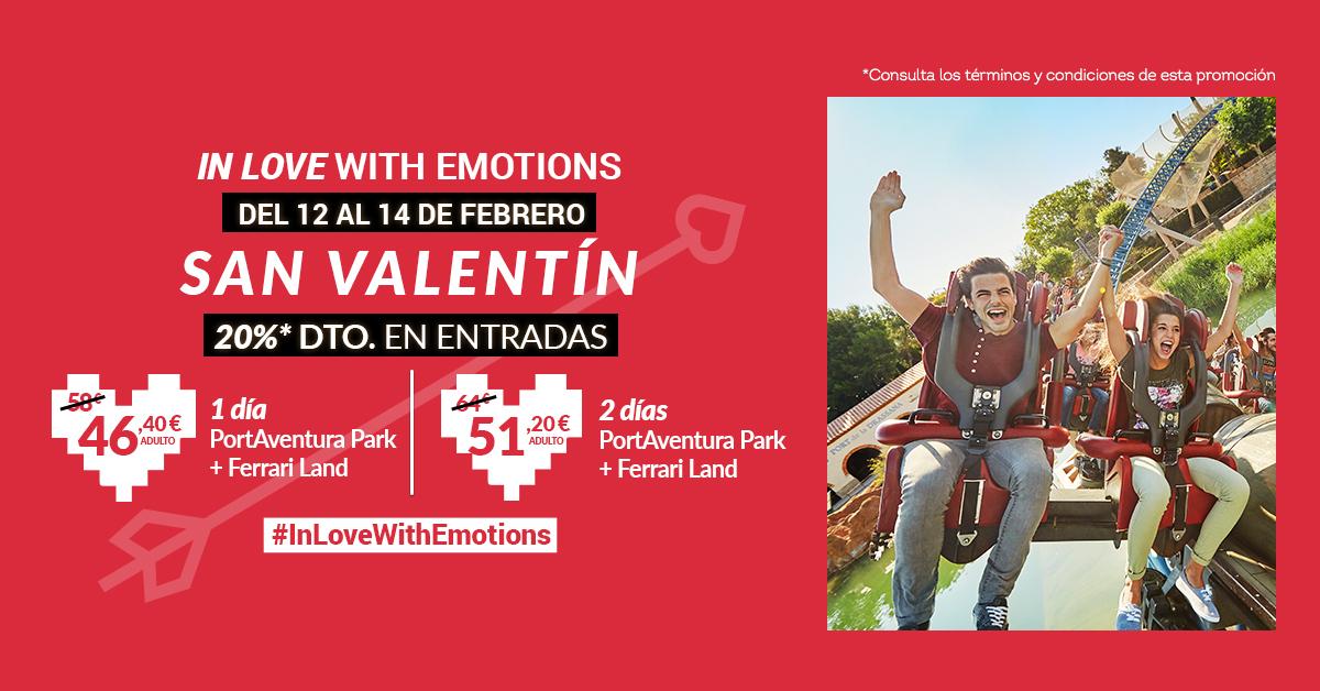 Por San Valentín, disfruta de un 20 % de dto.* en PortAventura World