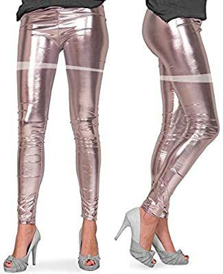 TALLA L/XL - Folat - Leggings con aspecto metalizado - Plata