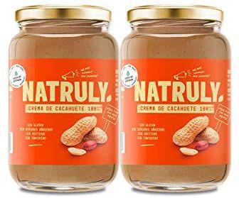 Crema de Cacahuete NATRULY Sin Azúcar, Vegana, Sin Gluten, Sin Lactosa, 100% Cacahuete - Pack 2x500g