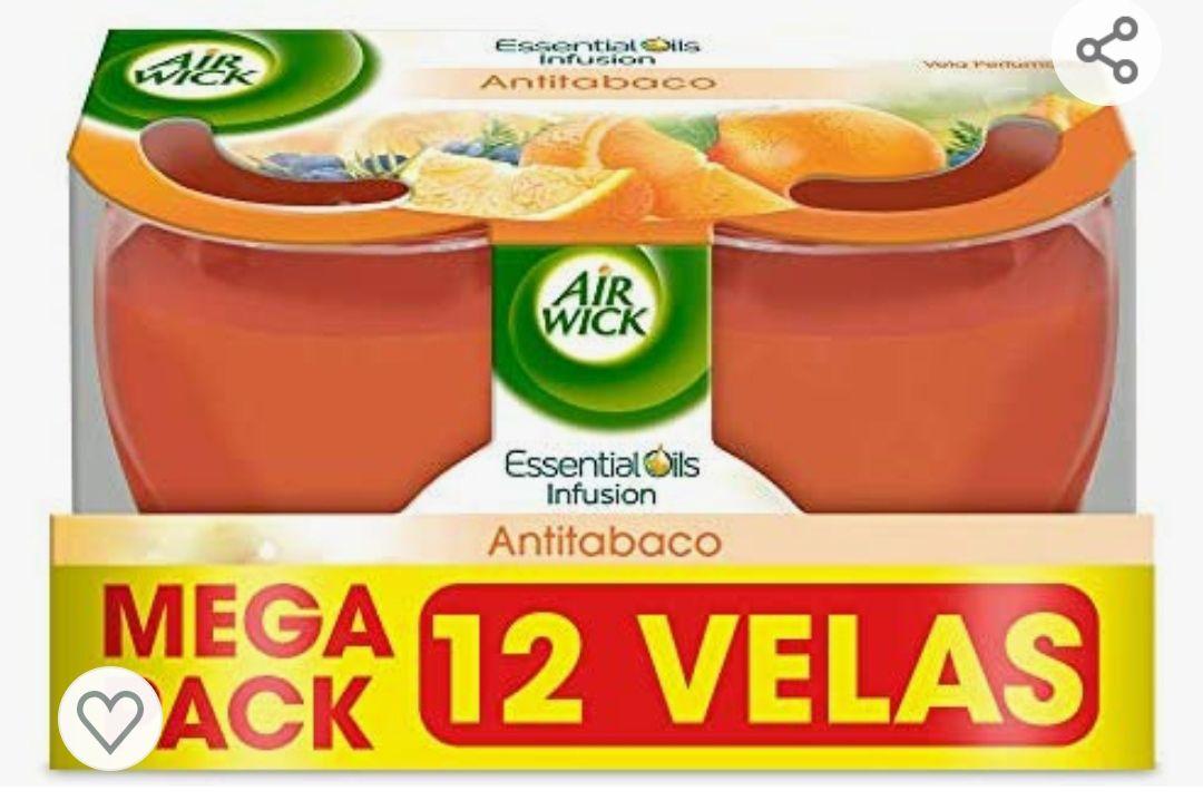 Megapack 12 unidades Air Wick AntiTabaco Velas aromáticas perfumadas antiolores, ambientador esencia para casa con aroma afrutado