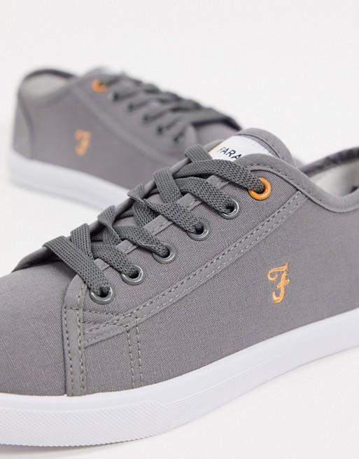 Zapatillas de lona con cordones en gris de Farah