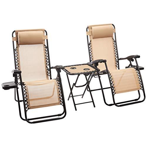 Set de 2 sillas con gravedad cero y mesa auxiliar, color beis