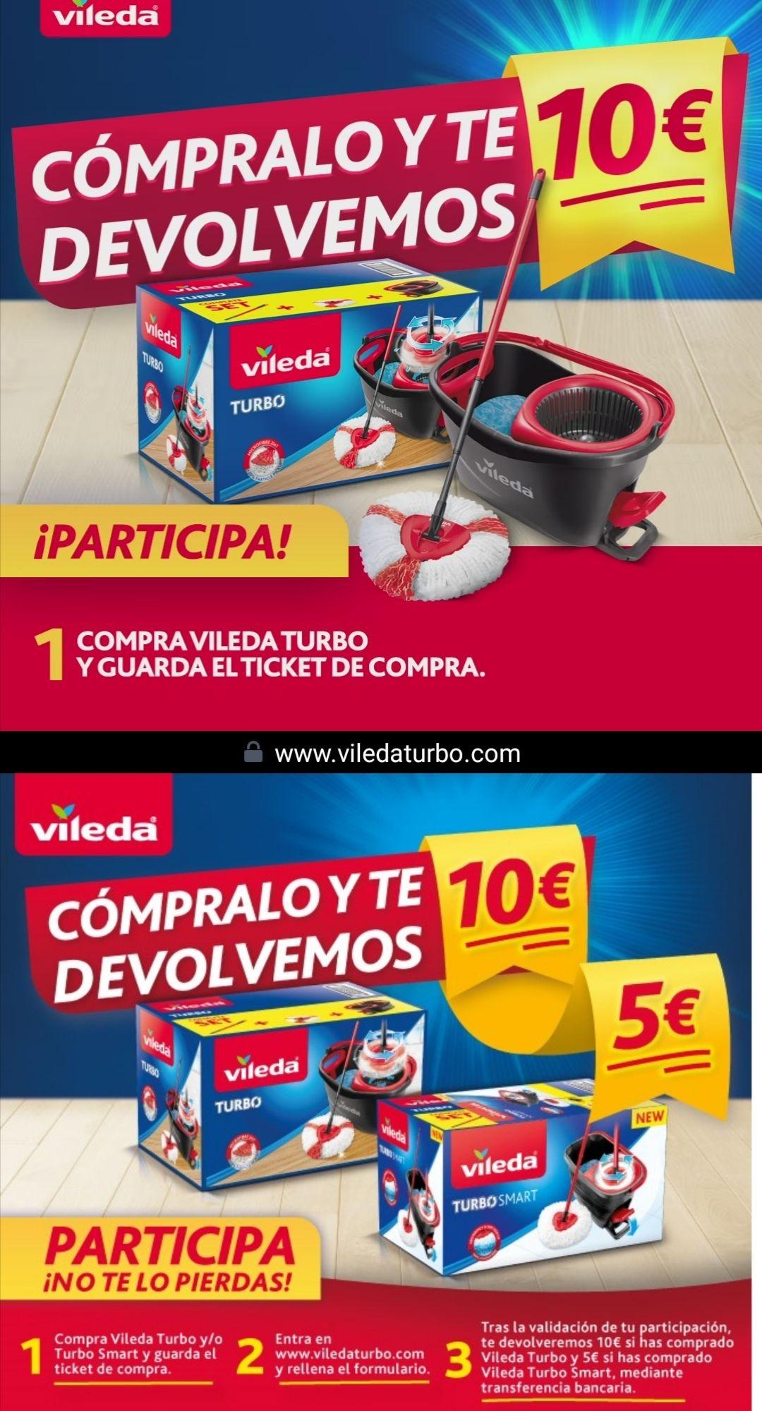 Compra Vileda Turbo y/o Turbo smart (reembolso de 10€ y 5€ respectivamente)