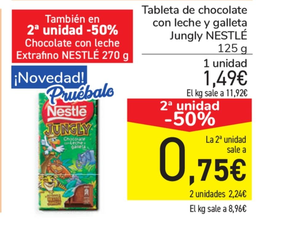 2 uds. Chocolate Nestlé Jungly en Carrefour a 1,12€/ud (en tienda)