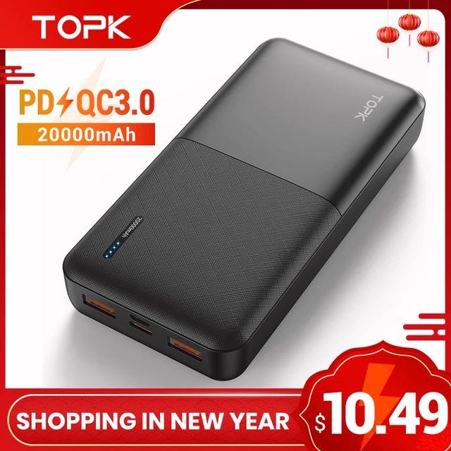 Batería de 20.000 mAh con QuickCharge 3 de Topk