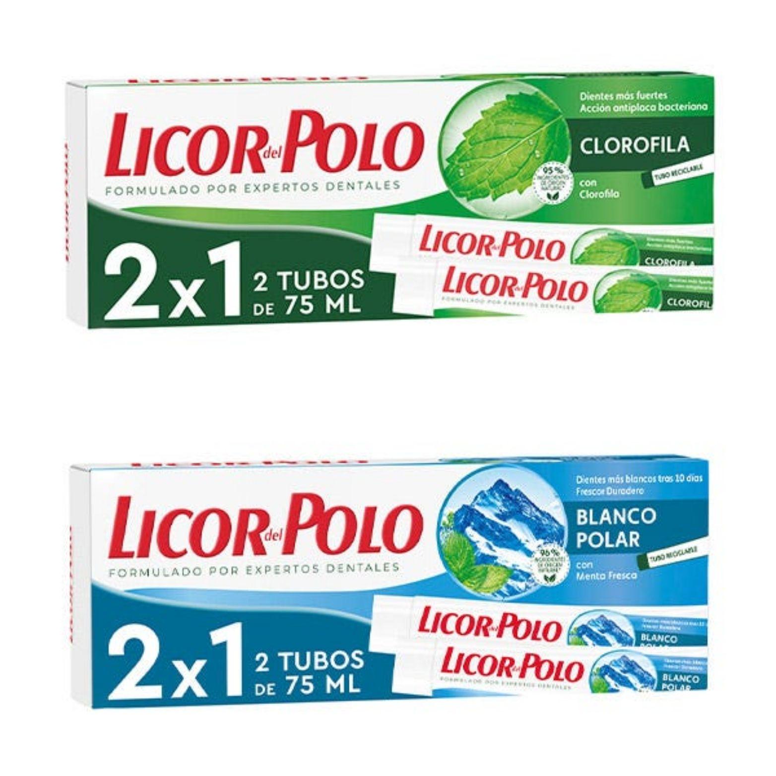 Pack 2 Pasta de Dientes Licor del Polo (Clorofila o Blanco Polar)