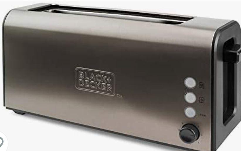 Black+Decker Tostadora Ranura Larga y Extra Ancha, 7 Niveles, Sistema Auto-centrado, Funciones: Stop, Recalentar y Descongelar, 1000 W,