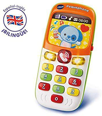 VTech - Pequephone bilingüe, juguete bebé +6 meses, teléfono infantil con luces, sonidos y canciones en inglés y español