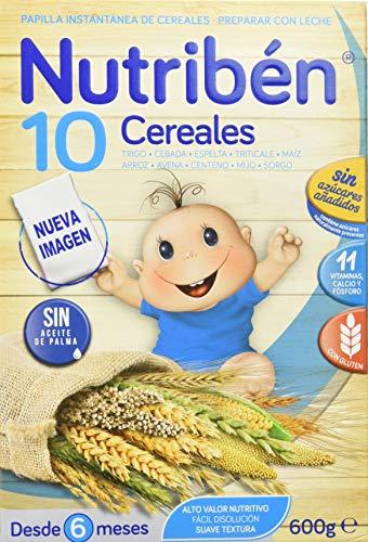 Nutriben Papilla 10 Cereales, 600 G. Para 2, blanco.