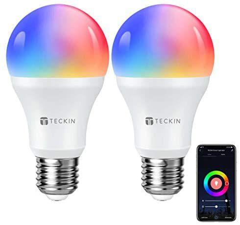 Pack de 2 bombillas WiFi RGB inteligentes Teckin