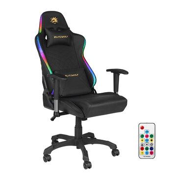 Silla gaming BlitzWolf con reposabrazos ajustable e iluminación RGB