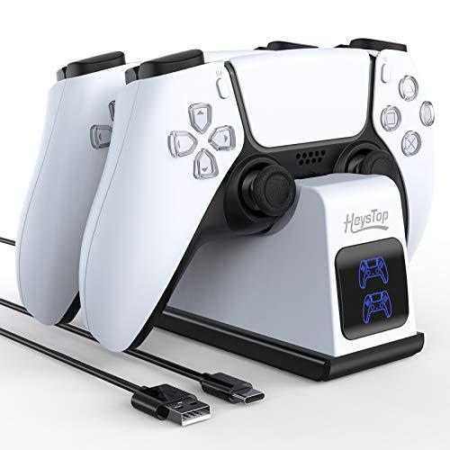 Cargador Mando PS5, Soporte Mando PS5 Estación de Carga Rápida Double USB con LED Indicador