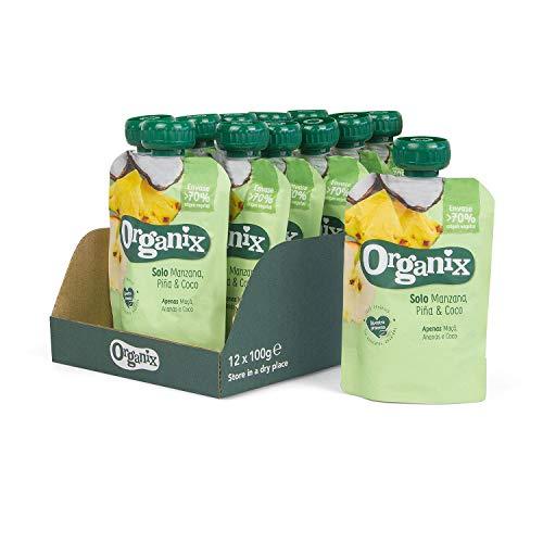 Pack de 12 Bolsitas de Hero Organix, de Manzana, Piña y Coco, 100 g unidad