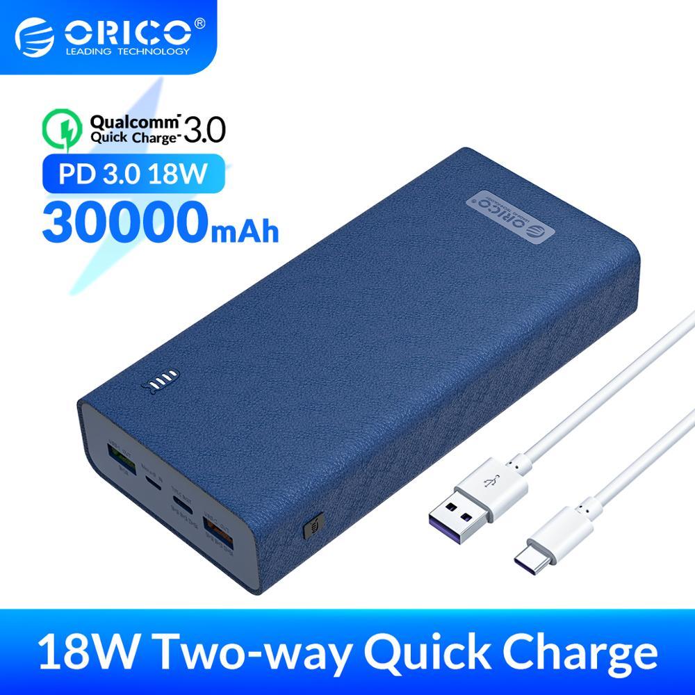 ORICO-Batería Externa 30.000 mAh, con tipo-C y micro-B DE CARGA RÁPIDA, 18W