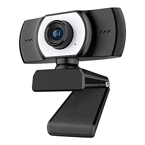 Cámara Web Full HD 1080P Grabación, Diseño Plegable y Giratorio de 360 °, Micrófono con Cancelación de Ruido