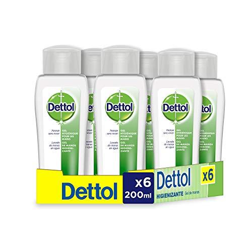 Pack de 6 frascos, Dettol Gel hidroalcoholico higienizante de manos - 200 ml