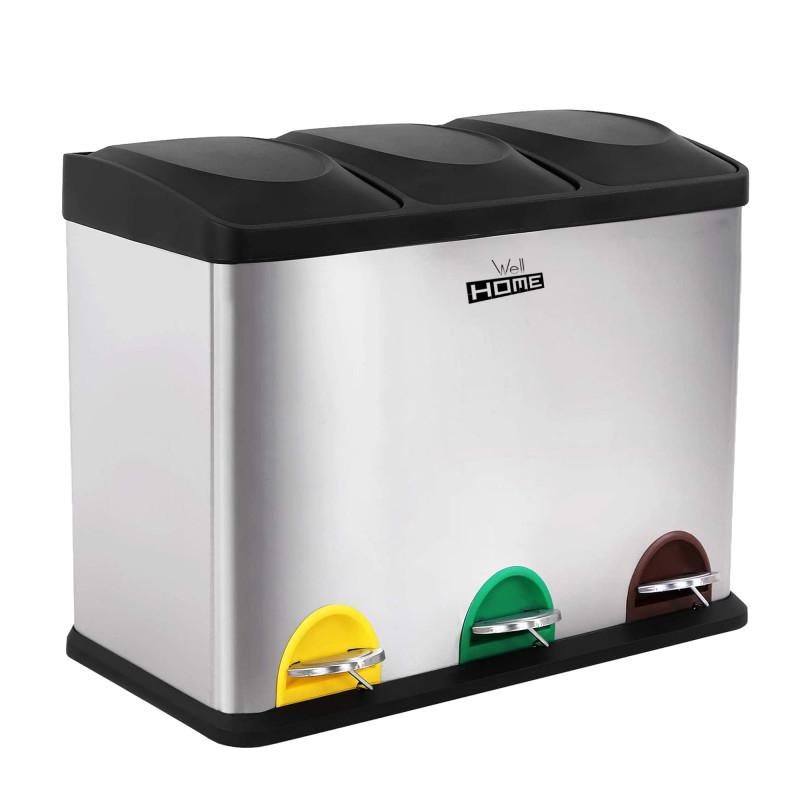 Cubo de Reciclaje Ecológico con 3 compartimentos y 45 Litros de capacidad