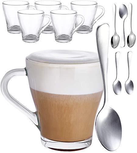 Juego de 6 Vasos de Cristal para Capuchino con Asa, Con 6 Cucharas - 250ml - Mantienen el Cafe Caliente