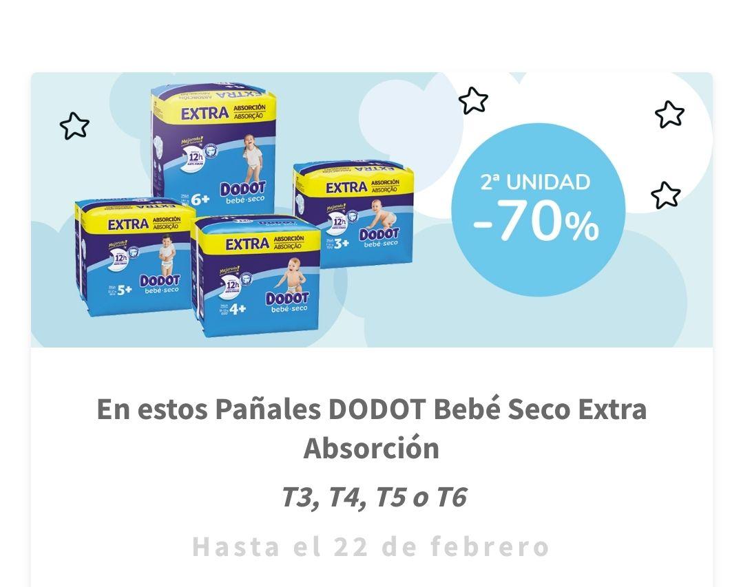 2ª al -70% Pañales Dodot bebé-seco Extra Absorción T3+/T4+/T5+/T6+